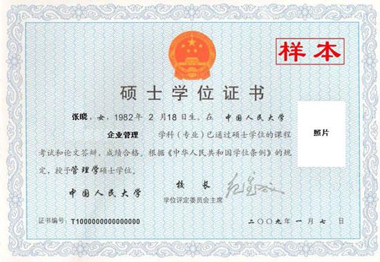 中国人民大学在职研究生结业证书和硕士学位样