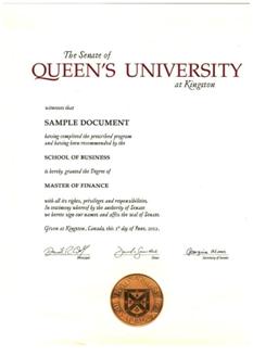 中国人民大学-加拿大女王大学金融硕士证书